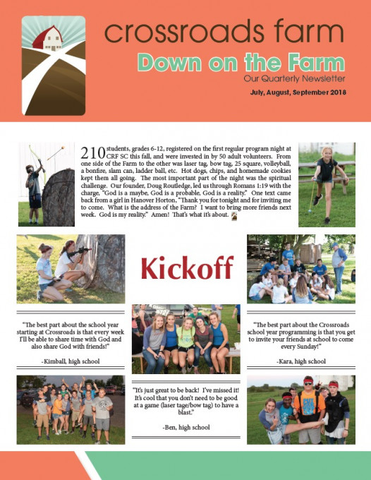 Down On The Farm: The Quarterly Newsletter of Crossroads Farm (v.73)